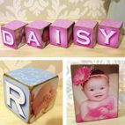 Handmade wooden photo block gift for baby