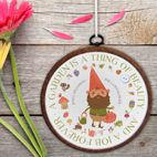 Personalised embroidery hoop gift for gardener