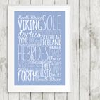 Shipping Forecast Bespoke Word Theme prints for him