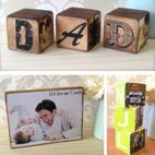 Personalised Wooden handmade photo blocks gift for him