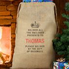 Personalised Santa Sacks hessian Christmas sack