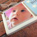 Handmade wooden triple photo plaque baby gift