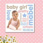Personality personalised photo word art canvas for baby