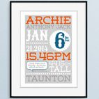 Personalised birth prints new baby christening gift