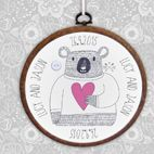 Personalised Bear embroidery hoop print wedding gift