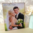 Personalised handmade wooden photo block wedding gift