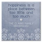 Happiness Sampler design blue personalised canvas print gift for family