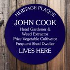 Personalised Gardener Gift Blue Heritage Plaque