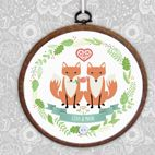 Personalised Foxes embroidery hoop print wedding anniversary gift
