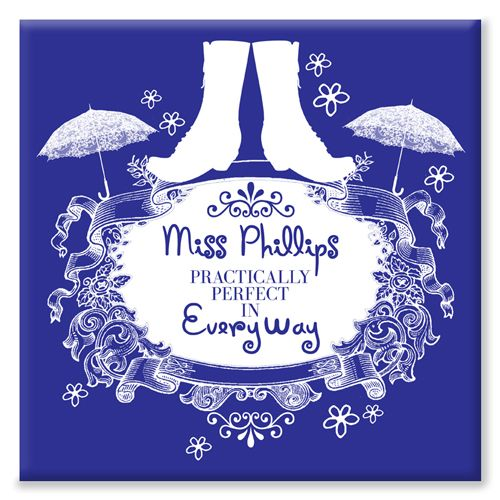 Practically Perfect teacher end of term gift Mary Poppins personalised canvas