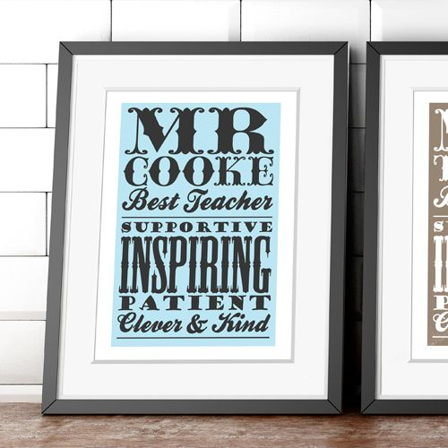 Personalised end of term teacher gift poster print
