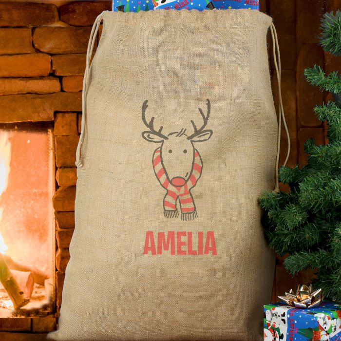 Personalised Christmas Santa Hessian Sack Retro Reindeer