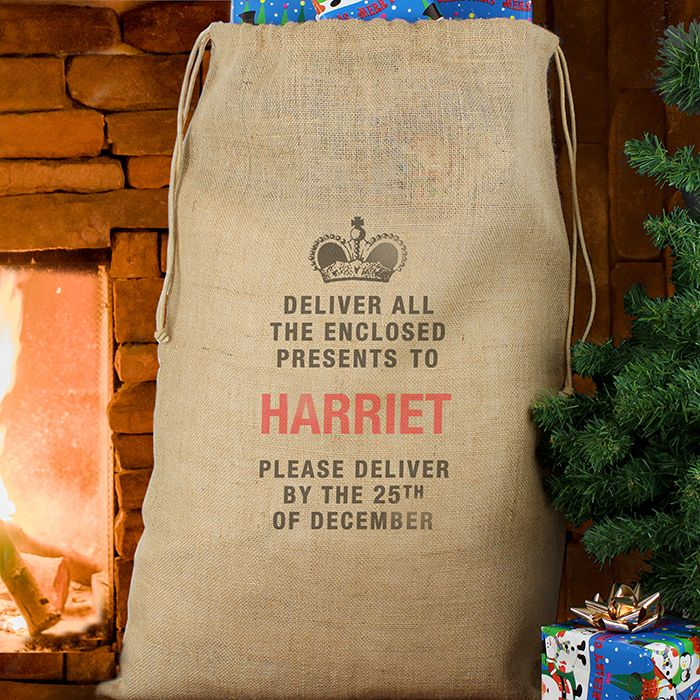 Personalised Christmas Santa Hessian Sack Deliver Presents