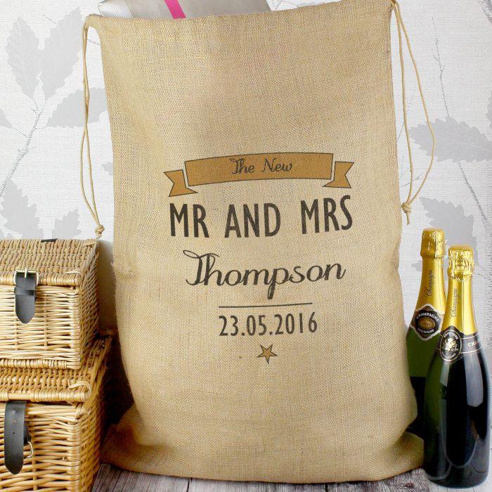 Personalised Wedding Gift Sack | customised party sack | personalised hessian sack from PhotoFairytales