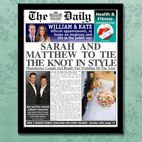 Personalised newspapers wedding gift