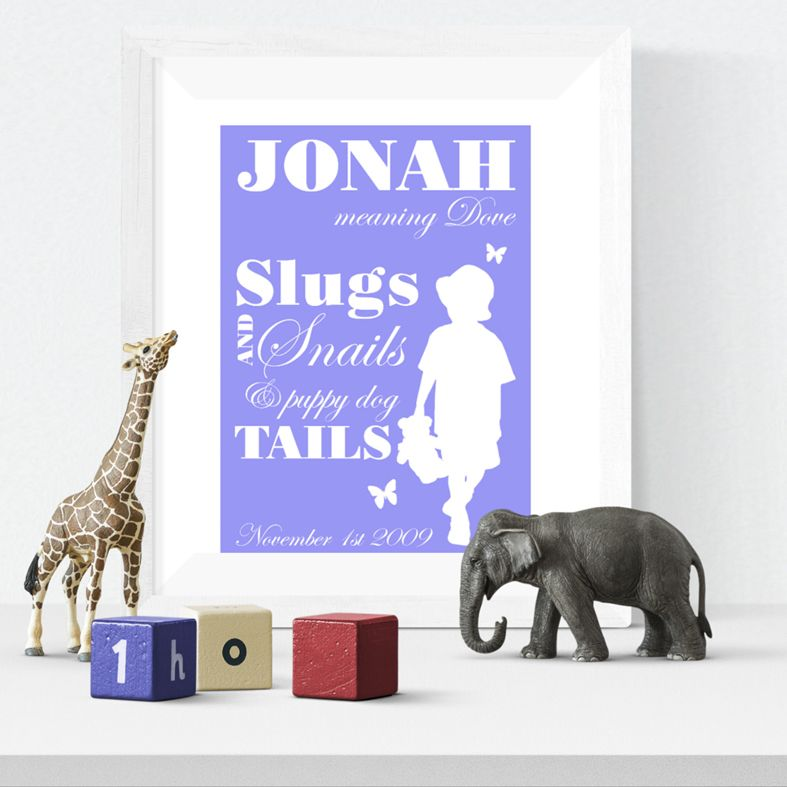 Slugs and Snails personalised name print christening gift