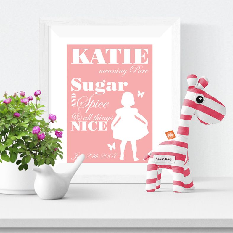 Sugar and Spice personalised name print christening gift