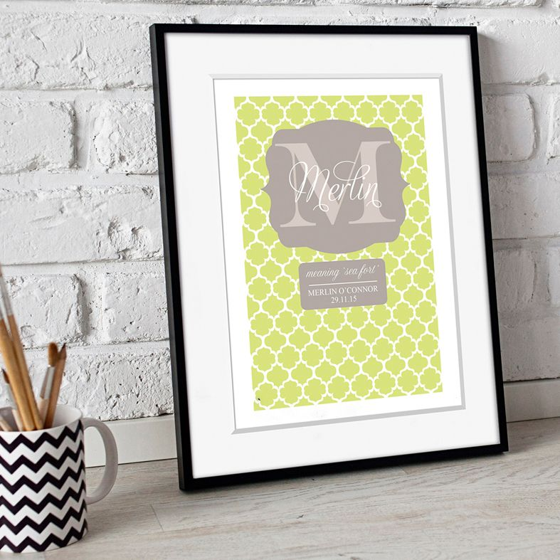 Personalised Preppy Monogram nursery print | bespoke baby christening gifts from PhotoFairytales