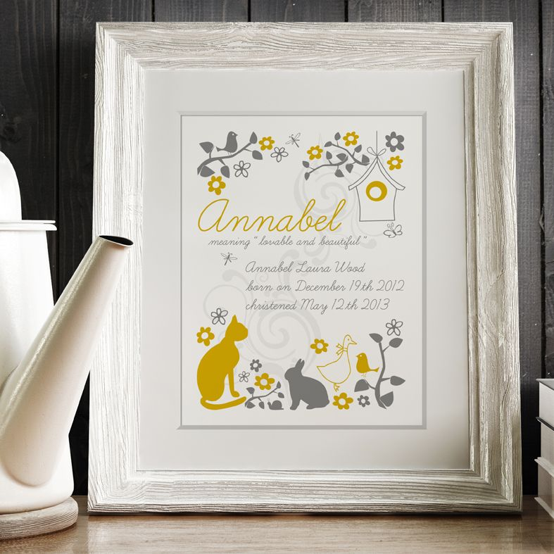 Folk Style personalised meaning of name print yellow grey