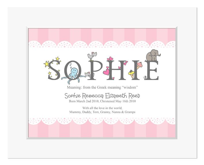 Personalised new baby alphabet print