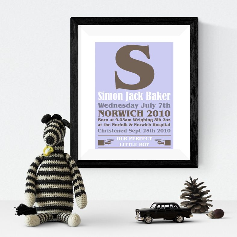 Poster personalised baby name print
