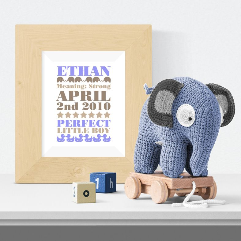 Elephant new baby name gift print typographic word art