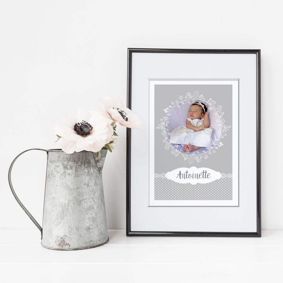 Lace neutral grey personalised poster print baby christening gift