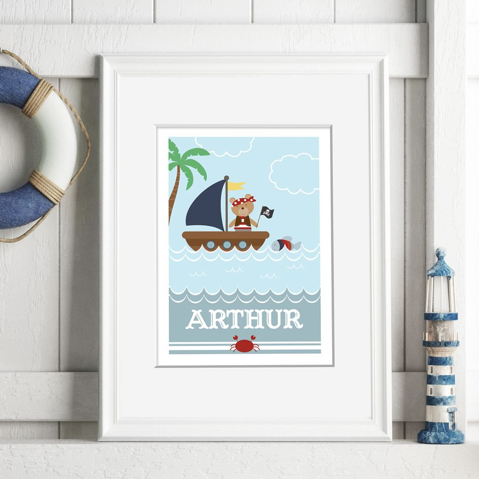 Pirate Boat nautical personalised name poster print | A delightful range of personalised name prints featuring your baby's name. Lovely #nurserydecor #babygift from PhotoFairytales
