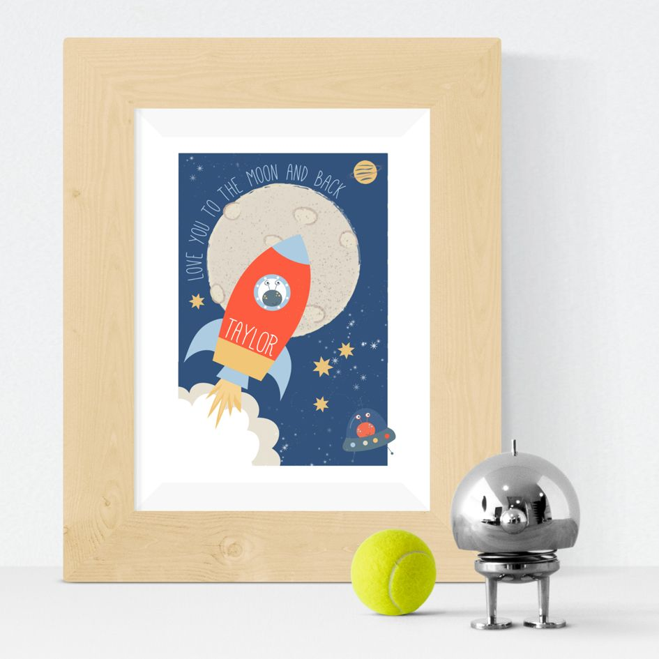 retro spaceship rocket personalised poster print