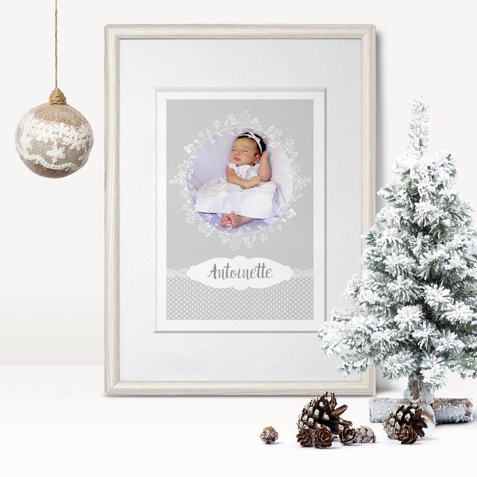 Personalised childrens poster print Christmas baby child newborn gift