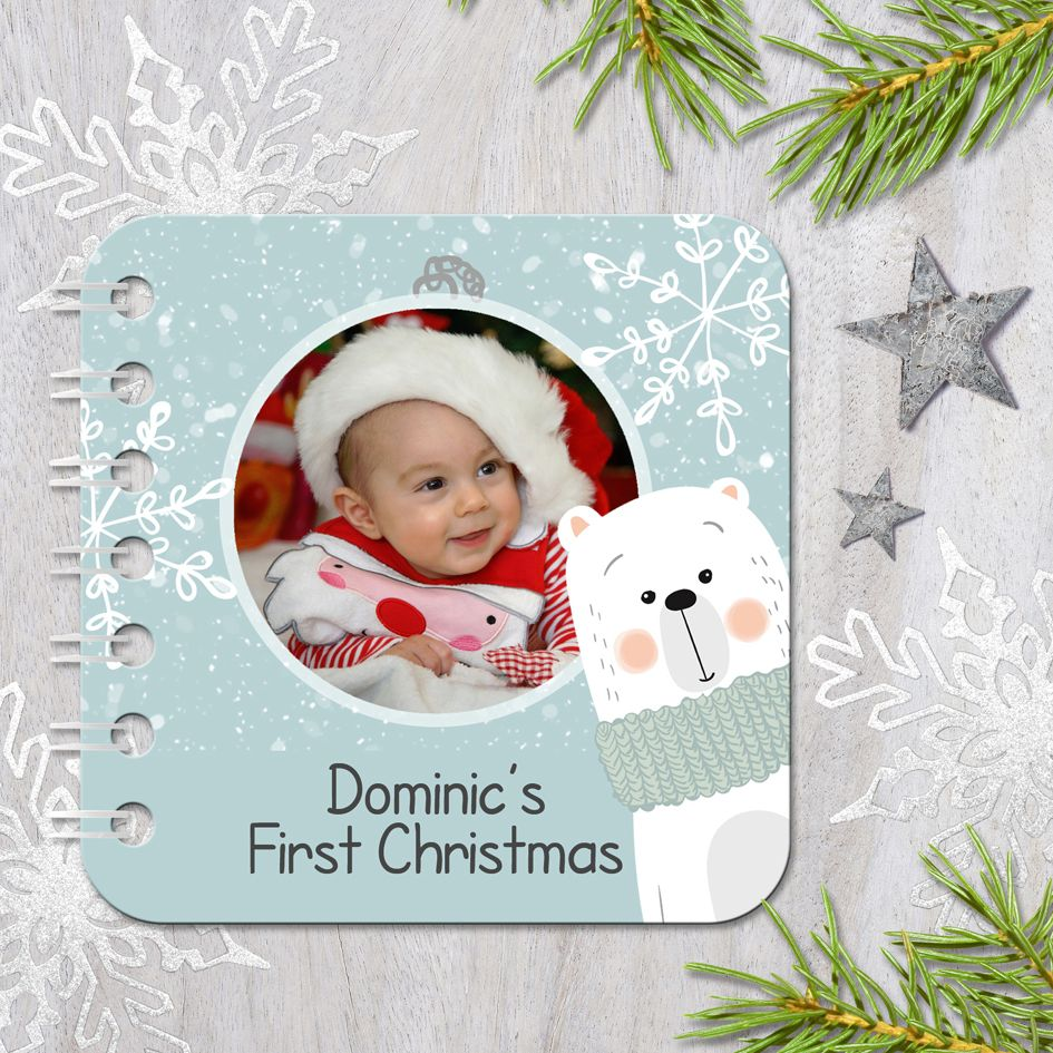 Personalised baby board book Christmas gift handmade