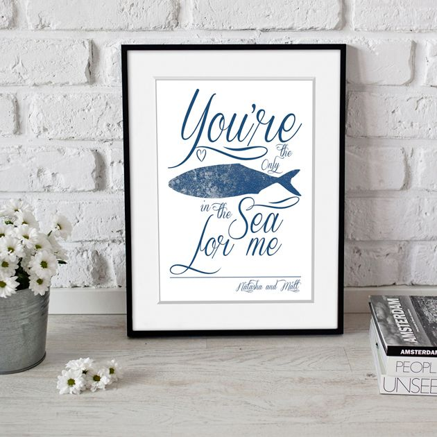 Only Fish in the Sea personalised word art love print