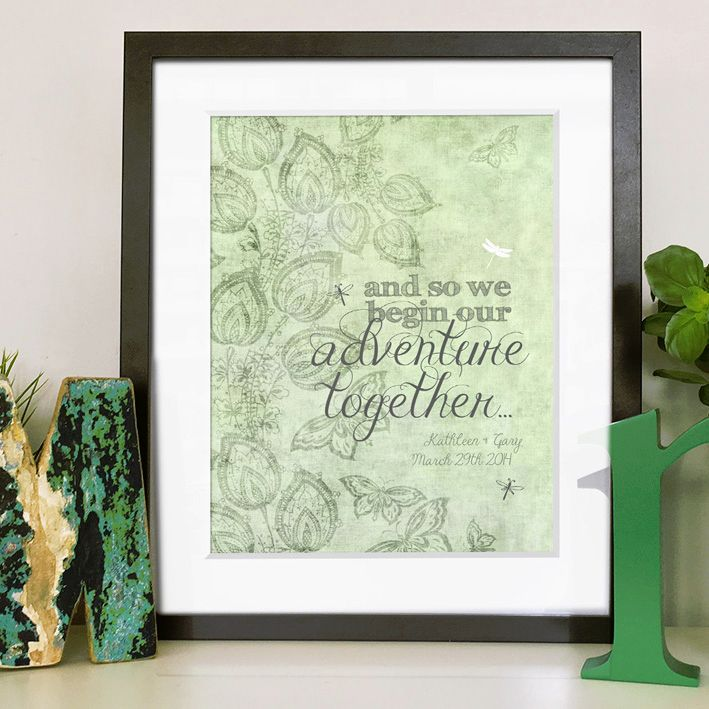 We begin our adventure personalised wedding love print