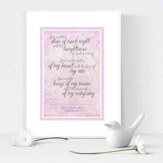 Star of Each Night personalised love prints