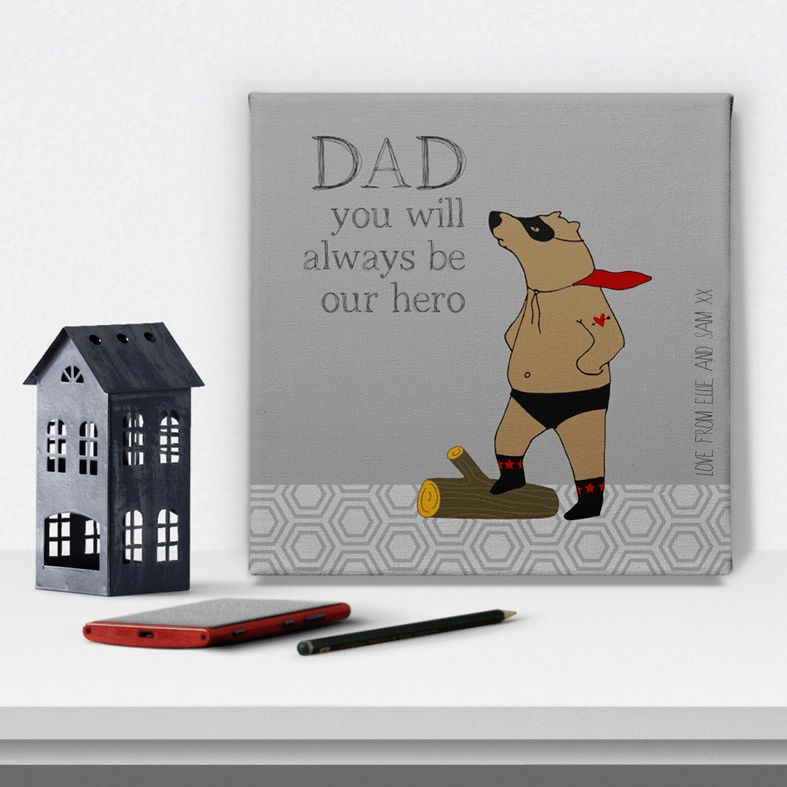 Superbear superhero personalised canvas wall art