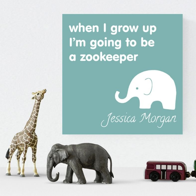 When I grow up Zookeeper personalised canvas children