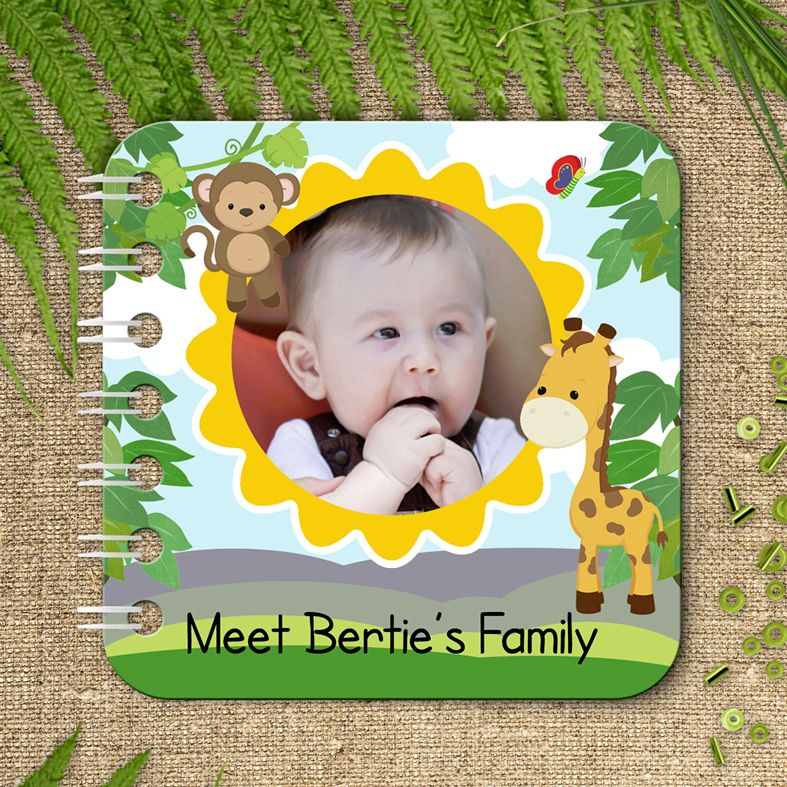 Jungle animal personalised baby board book christening gift