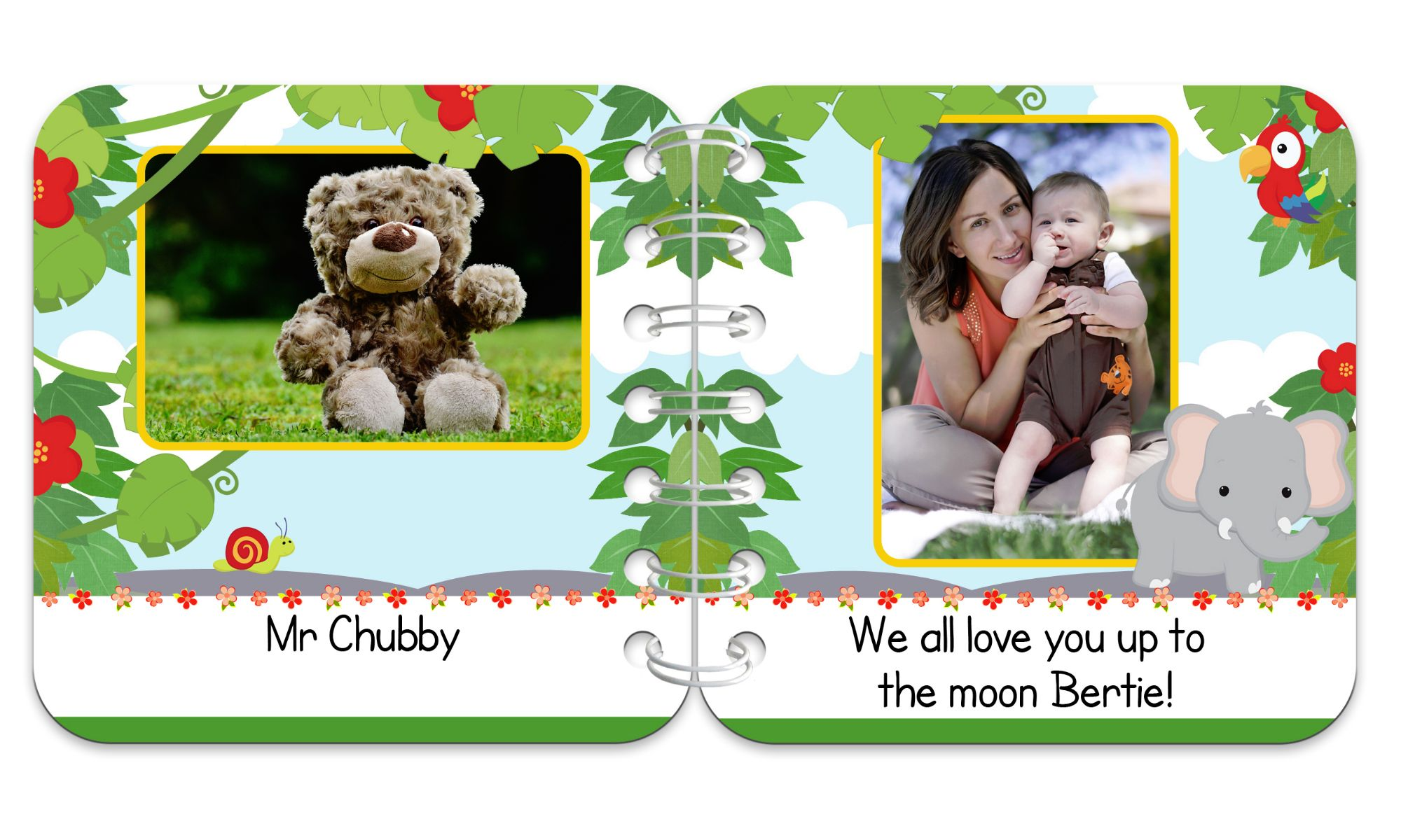 Jungle Personalised Baby Board Book | handmade board books, made to order, range of designs available, by PhotoFairytales.