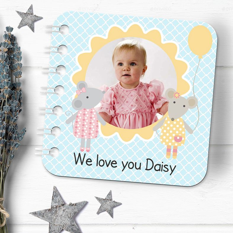 Personalised baby board book handmade photo christening gift