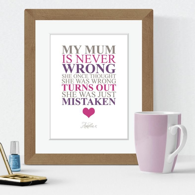 Mothers Day personalised print Mum is Never Wrong