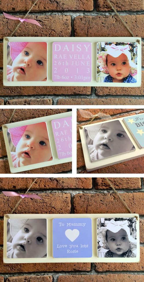 Personalised triple wooden photo plaque