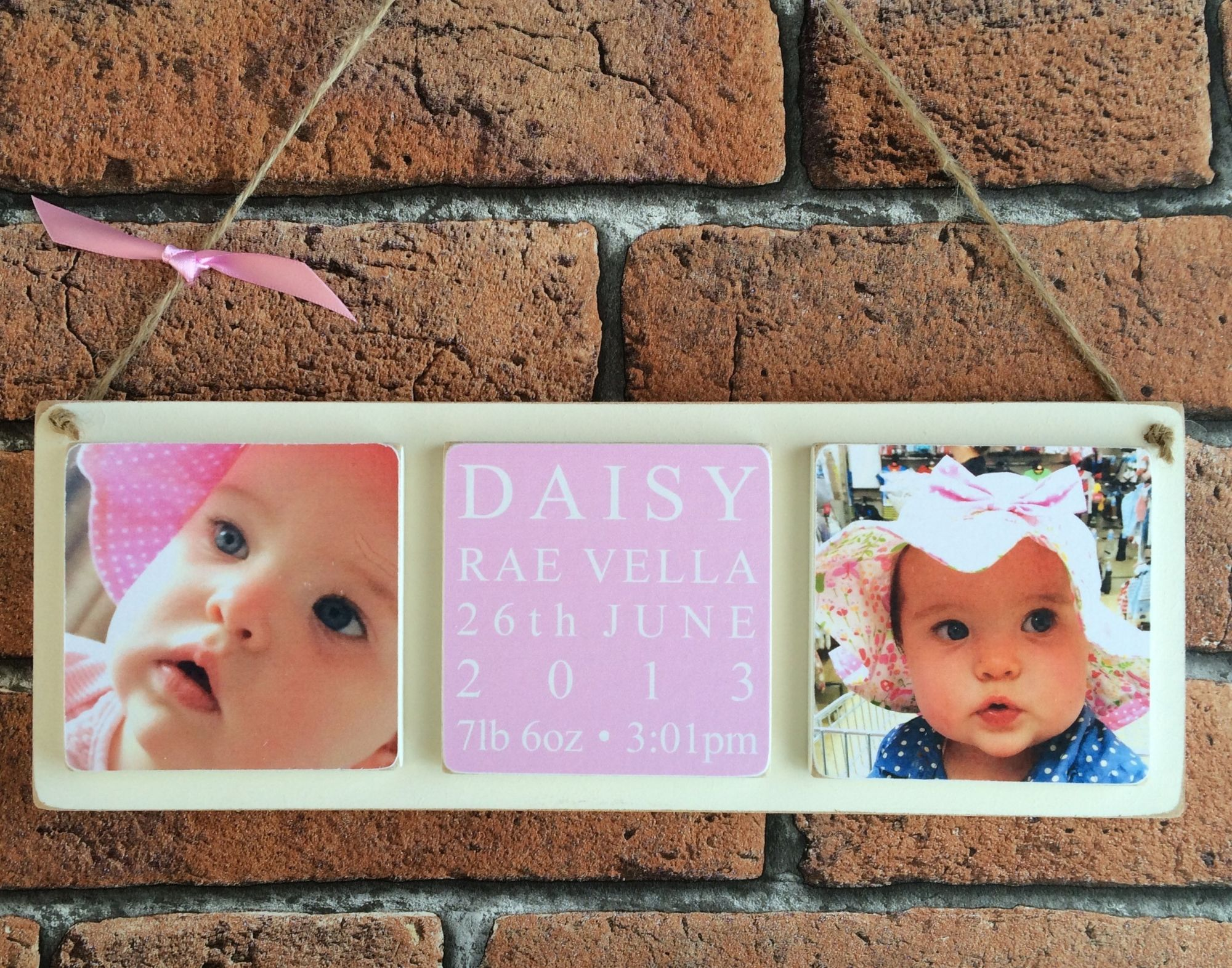 Personalised Birth wooden photo plaque