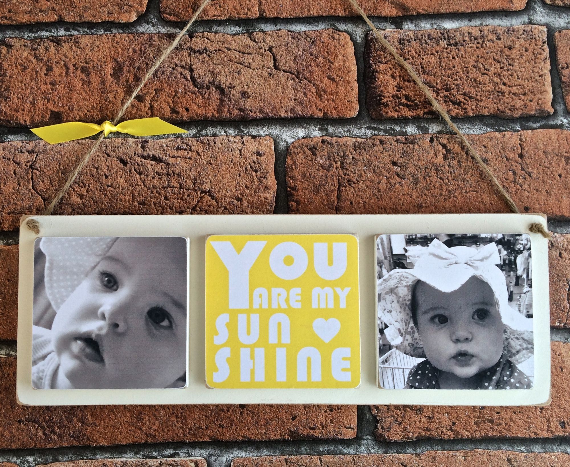Personalised wooden photo plaque sunshine