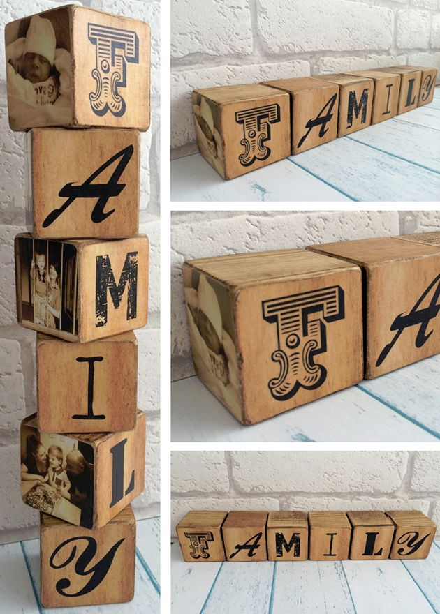 Personalised handmade wooden photo blocks family gift