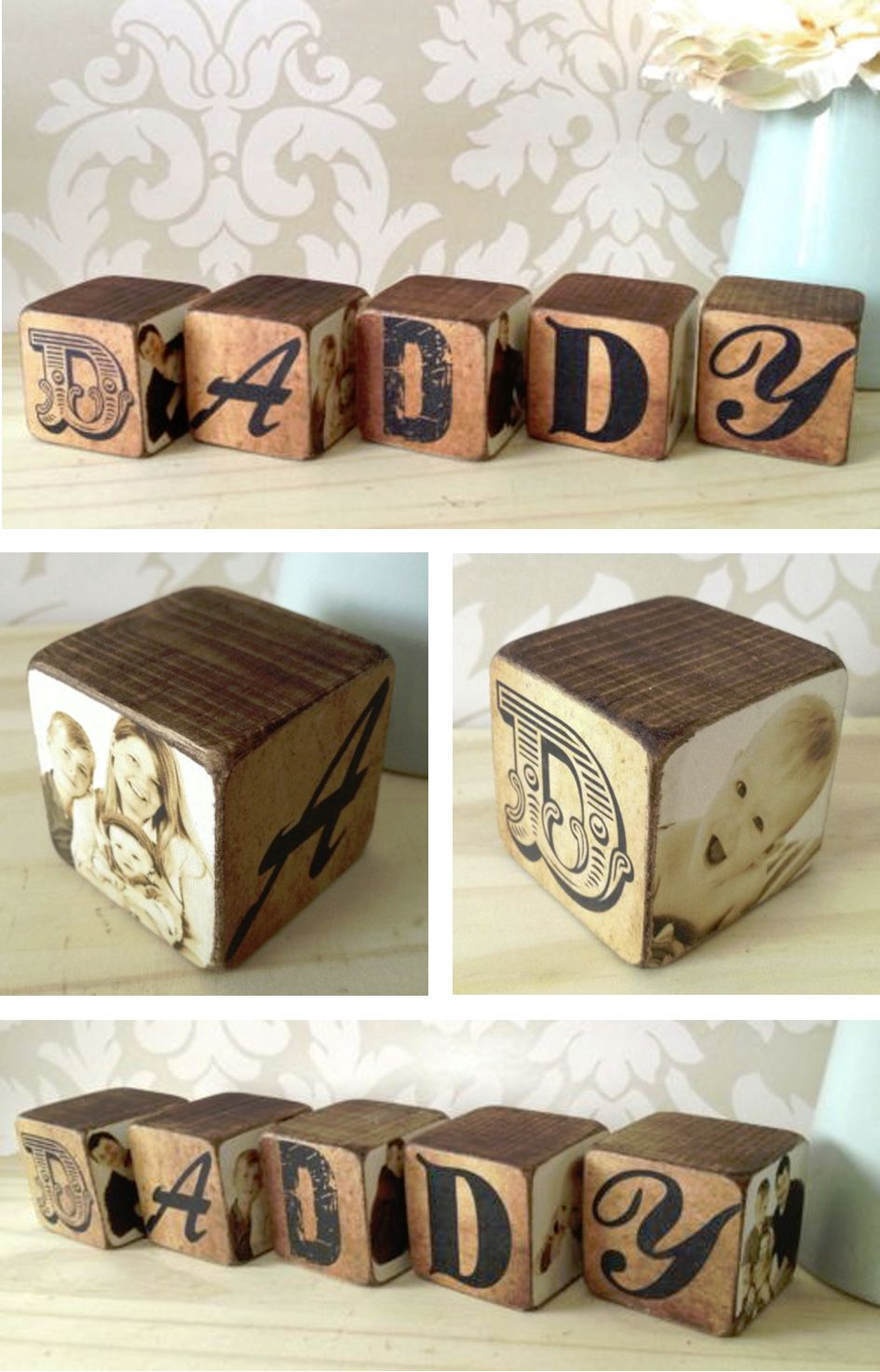 Mummy Daddy personalised wooden photo blocks