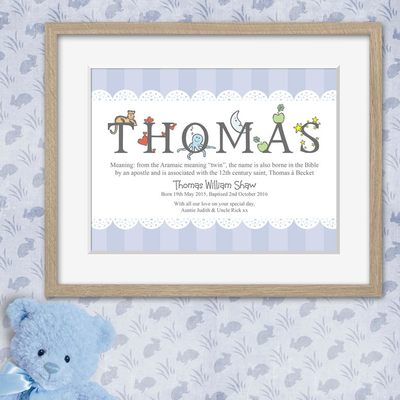 Alphabet personalised meaning of name print christening gift