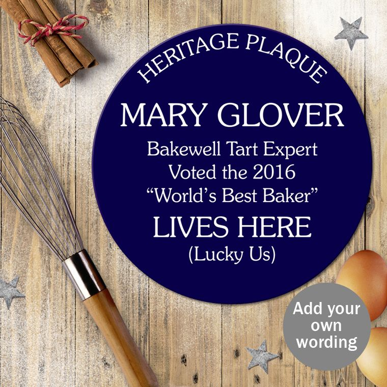 Personalised blue heritage plaque gift funny fun humourous