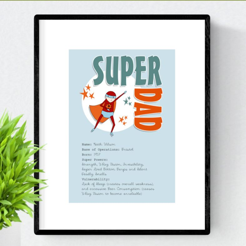 Superhero personalised prints for Mother's Day and Father's Day