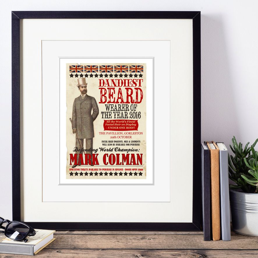 Dandiest Beard Wearer of the Year Personalised Vintage Print | the perfect gift for the beard wearing gentleman, dandy or hipster, from PhotoFairytales