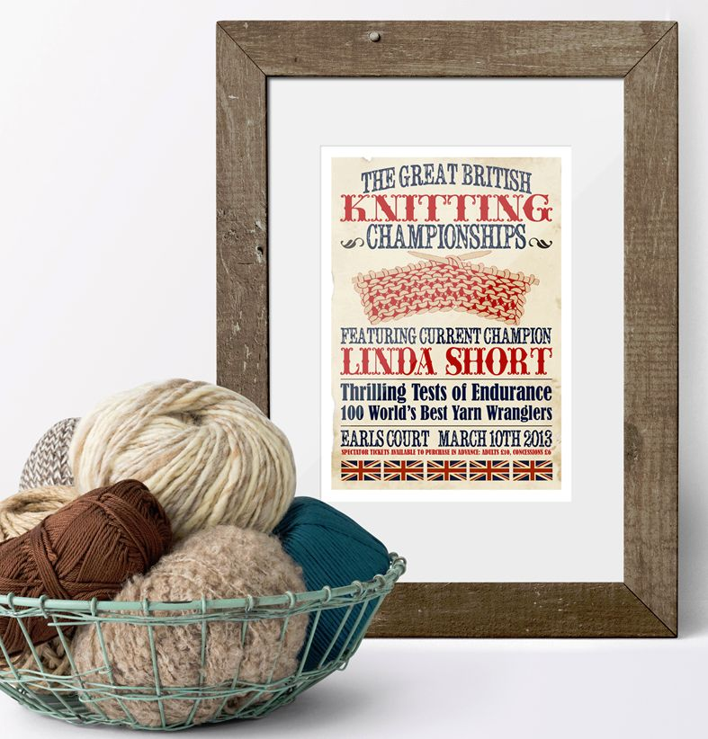 The Great British Knitting Championships Personalised Vintage Print | unique vintage style personalised gift for someone who loves knitting, from PhotoFairytales